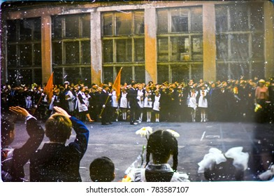 USSR, LENINGRAD - CIRCA 1982: Vintage photo of soviet school holiday scene in Leningrad, USSR