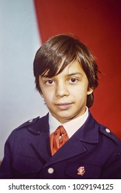 USSR, LENINGRAD - CIRCA 1986: Vintage photo of school boy portrait