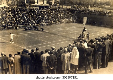USSR, Russia - CIRCA 1937: An antique Black & White photo of a meeting match of tennis