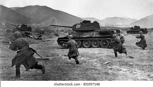 USSR, Russia - CIRCA 1954: An antique Black & White photo of a training of the Russian soviet army