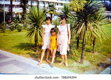 USSR, SOCHI - CIRCA 1982: Vintage photo of summer family vacation