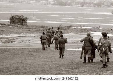 USSR Soldiers in World War II era battle