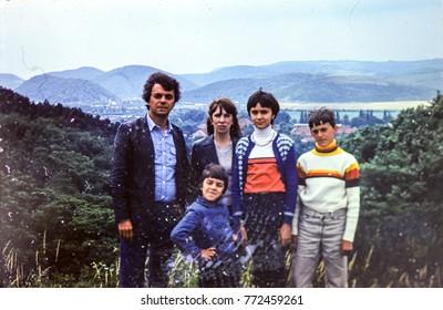 USSR, WESTERN UKRAINE, CARPATHIAN MOUNTAINS - CIRCA 1983: Vintage photo of family car trip in Carpathian mountains, Western Ukraine, USSR