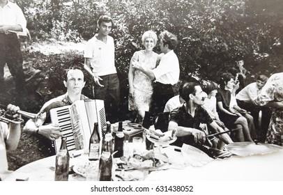USSR, WESTERN UKRAINE, DOLISHNEE VILLAGE - CIRCA 1970: Vintage photo of folk festival in Western Ukraine, USSR