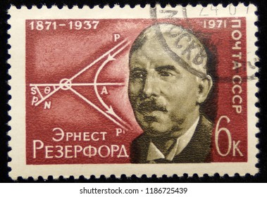 USSR-CIRCA 1971. Postage stamp printed in the USSR, depicting photogra- phy Ernest Rutherford 1871-1937