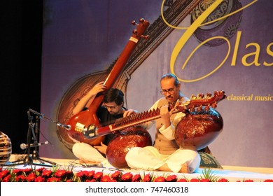 Ustad (Maestro) Baha'uddin Dagar of the Hindustani dhrupad style playing the Rudra Veena, an Indian string instrument, at the Classical Music Festival in New Delhi on October 27, 2017
