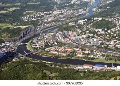 Usti nad Labem, aerial view, Czech Republic