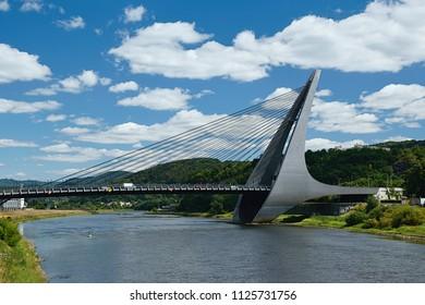 Usti nad Labem, Czech republic - June 30, 2018:  Mariansky most bridge over river Labe in czech city Usti nad Labem during summer day