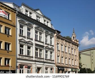 USTI NAD LABEM. CZECH REPUBLIC. 13 SEPTEMBER 2016 : Traditional houses at old district of Usti nad Labem. Czech Republic