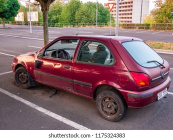 Usti nad Labem / Czech republic - 9.5.2018: An abandoned car wreck in the parking lot