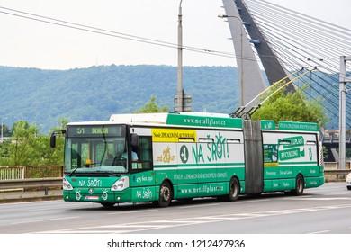 Usti nad Labem, Czech Republic - July 21, 2014: Modern articulated trolleybus Skoda 25Tr in the city street.