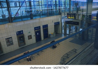 Usti nad Labem, Czech republic - June 14, 2019: vestibule of train station at sommer evening