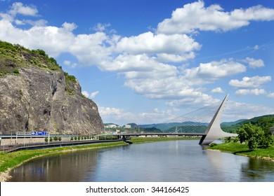 USTI NAD LABEM, CZECH REPUBLIC - JUN 15, 2014:  Marian bridge over Elbe river, Usti nad Labem, North Bohemia, Czech republic. The length of bridge deck is 179 m and of pylons is 60 m