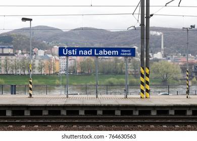 USTI NAD LABEM, CZECH REPUBLIC - APRIL 7, 2017: The central railway station in Usti nad labem, Czech republic