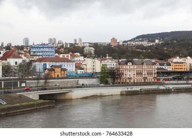 USTI NAD LABEM, CZECH REPUBLIC - APRIL 7, 2017: View from Usti nad labem city centre, Czech republic