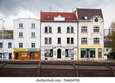 USTI NAD LABEM, CZECH REPUBLIC - APRIL 7, 2017: Buildings in Usti nad labem city centre, Czech republic