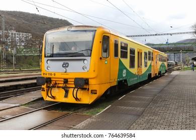 USTI NAD LABEM, CZECH REPUBLIC - APRIL 7, 2017: CD railcar at Strekov station in Usti nad labem, Czech republic
