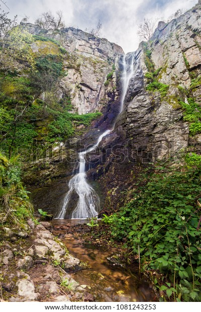 Ustina waterfall located on an eco path near Yuistina village, Bulgaria.
