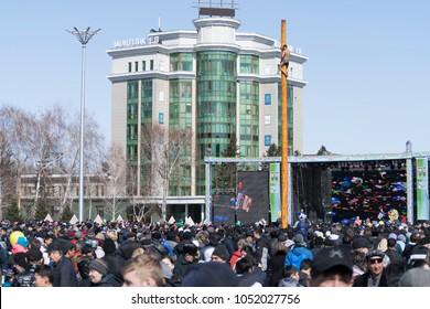 Ust-Kamenogorsk, East Kazakhstan, Kazakhstan - 03.22.2018: Mass celebration of the national Kazakh holiday Nauryz.