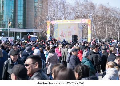 Ust-Kamenogorsk, East Kazakhstan, Kazakhstan - 03.22.2018: Mass celebration of the national Kazakh holiday Nauryz