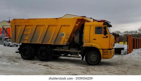 Ust-Kamenogorsk, Kz – Feb 7, 2021. Russian truck KAMAZ 6520.