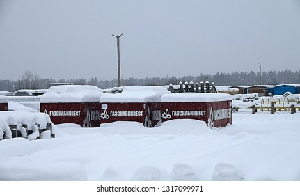 Ust-Luga, Russia-January 29, 2019: Equipment for pipeline is stored in warehouse. Equipment of Gazprom and partners for construction of Nord Stream-2 pending approval with EU