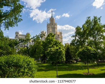 Ustyinsky Square and skyscraper on Kotelnicheskaya embankment in Moscow, Russia