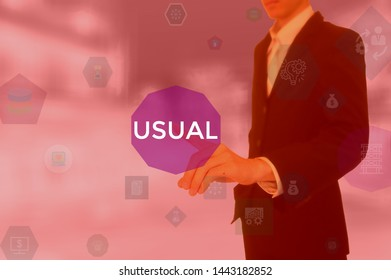 USUAL - business concept presented by businessman