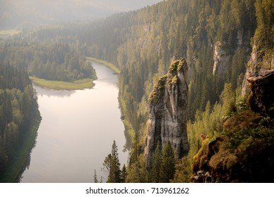 Usvinsky Pillars. Rock Devil finger. Perm region, Russia.