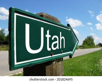 Utah arrow signpost along a rural road