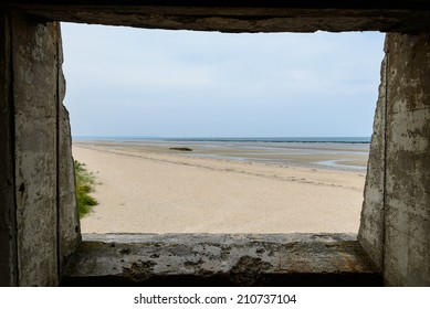 Utah beach from bunker, Normandy, France