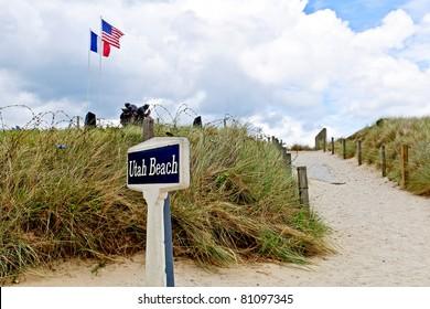 Utah beach with memorial statue in normandy france
