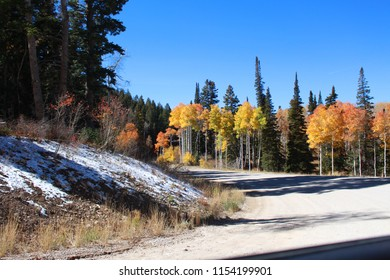Utah canyon road on a clear autumn day with colorful trees and snow on the ground