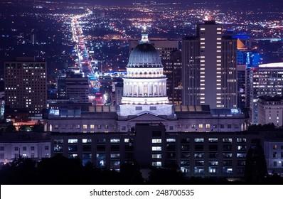 Utah Capitol Building in Salt Lake City. Night Time Panorama.