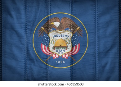 Utah flag pattern on synthetic leather texture