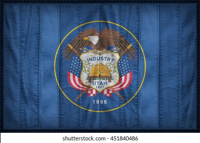 Utah flag pattern on synthetic leather texture, 3d illustration style