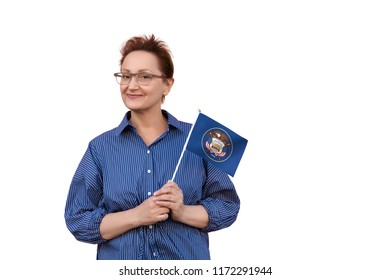 Utah flag. Woman holding Utah state flag. Nice portrait of middle aged lady 40 50 years old with a state flag isolated on white background.
