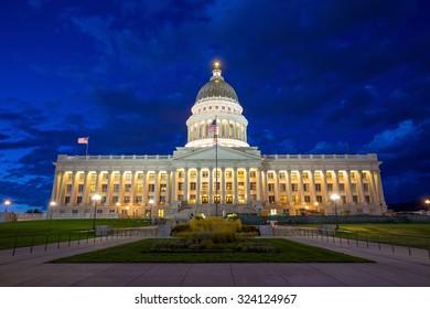 Utah State Capitol Building in Salt Lake City at night