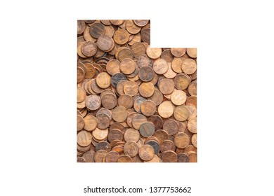 Utah State Map and Money Concept, Piles of Coins, Pennies