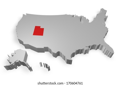 Utah state on Map of USA 3d model on white background