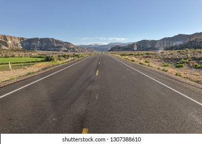 Utah State Route 12 (Scenic Byway 12) heading towards Escalante and Table Cliff Plateau in Henrieville, Garfield county, Utah