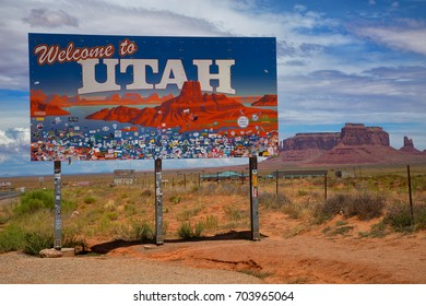 UTAH, UNITED STATES - JULY 24 , 2017: Utah sign across the road to Monument Valley  a region of the Colorado Plateau characterized by a cluster of vast sandstone buttes