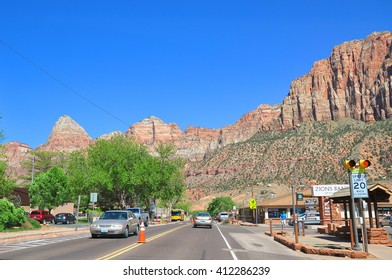 UTAH USA - APRIL 23, 2014 : Springdale is a town in Washington County, Utah, United States. It is located immediately outside the boundaries of Zion National Park.