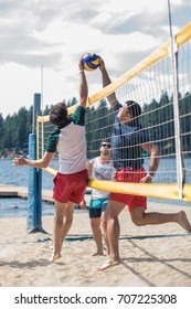 UTAH, USA - AUGUST 20 2017: Men playing volleyball on the beach
