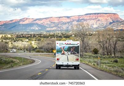 UTAH, USA - MAY 25: Motorhome on road on May 25, 2015 in Utah, USA