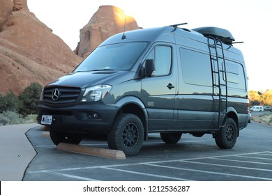 Utah, USA -  October 19, 2018: The El Kapitan 4×4 Camper Van Based On Mercedes-Benz Sprinter