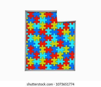 Utah UT Puzzle Pieces Map Working Together 3d Illustration
