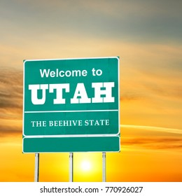 Utah, Welcome road sign