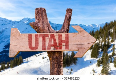 Utah wooden sign with winter background