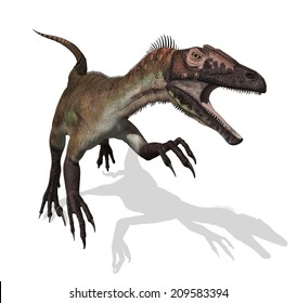 The Utahraptor was a dinosaur that lived during the early cretaceous period - 3d render.